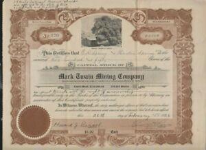Mark Twain Mining Company stock certificate & two typed letters to shareholders