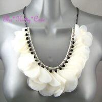 Chic Cream White Ruffle Corsage Flower Beaded Bib Necklace W/ Swarovski Crystals