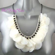 Beaded Bib Necklace W/ Swarovski Crystals Chic Cream White Ruffle Corsage Flower