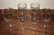 Set of 6 ANTIQUE VINTAGE Clear Crystal Cordial Port Sherry Glasses Wave Design