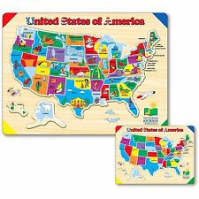 """Puzzle Games For Toddlers Learn USA Map Fun And Colorful 15"""" x 11"""" 40 Pcs New"""