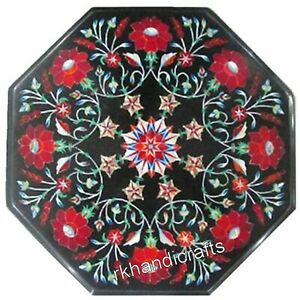 Stones Floral Work Inlaid Marble Bed End Table Amazing Coffee Table 14 Inches