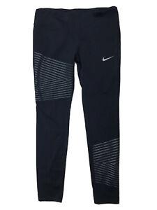 NIKE Dri-Fit Women's Size L Black Gray Stripe Cropped Compression Running Pants