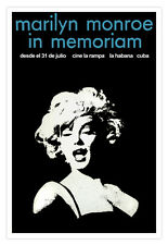 "Cuban movie Poster""MARILYN MONROE""In memoriam.Film Noir decoration art."