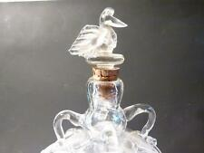 Antique 19thC Clear Glass Square Section Decanter BIRD Stopper Free Blown Pontil