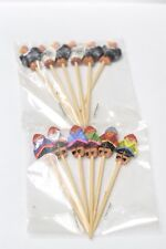 Vintage Peru Cocktail Sticks Red Clay Aztec Theme Women And Eagles New