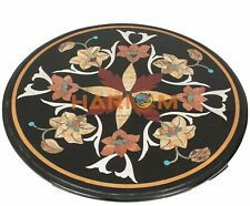 18'' Marble Black Coffee Round Table Top Semi Marquetry Inlay Outdoor Decor B316