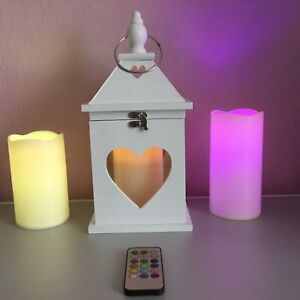 Wooden Hanging Candle Lantern with 3 Candles-2 Remote Control (reduced to clear)