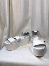 a7b5be883669 ASOS Platform Sandal Wedge White Leather Size 37  See Description