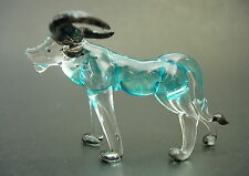 Glass BUFFALO COW, BULL Glass  Animal Black Horns Turquoise Body Ornament Figure