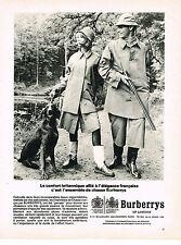 PUBLICITE ADVERTISING 024   1964    BURBERRYS OF LONDON     ensemble de chasse