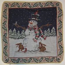 LUXURY DOUBLE SIDED TAPESTRY SNOWMAN CHRISTMAS CUSHION COVER GOLD ROPE EDGING