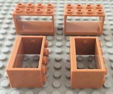 New Lego Lot of 4 Medium Dark Flesh 2 x 4 x 2 String Reel Holder #4209