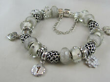 """GORGEOUS 925 SILVER STAMPED 22cm EURO STYLE CHARM BRACELET """" BIG BLING LOVER """""""