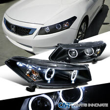 For 08-12 Honda Accord 2Dr Coupe Replacement Black LED Halo Projector Headlights