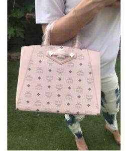 Stunner MCM Medium Essential Visetos Satchel Tote Bag Powder Pink NWT Authentic