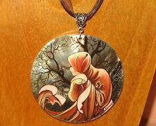 Hand Made SHELL Pendant MUCHA JANUARY WINTER MONTHS UNIQUE BIRTHDAY GIFT