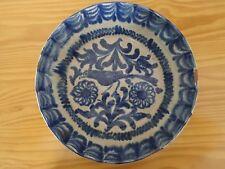 c.18th - Antique Spain Spanish Granada Blue and White Glazed Ceramic Bowl
