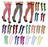 Ladies Striped Stripey Over The Knee Socks Womens Long Neon Colour Fancy Dress