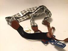 New Nautica Men's Black White Plaid Fabric Suspenders Adjustable Braces