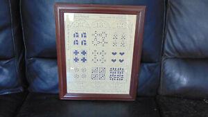Quilt Blocks Scherenschnitte Art Framed Handmade German Paper Cutting