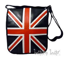 Goth : Grand Sac Bandoulière NOIR UK ' Union Jack ' Drapeau Anglais gothique