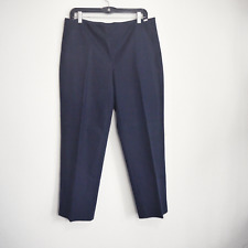 St John Yellow Label Crop Pants Woven Stretch Navy Blue Size 10  Made in USA