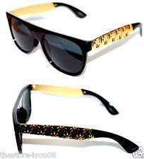 Super Flat Top Sunglasses Impero Future Black Gold Metal Weed Hemp Marijuana
