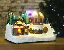 Animated Christmas Village Scene Ice Skating LED Musical Decoration Glitter Home