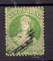 New Zealand 1864 1/- green fine used SG125 WS20210