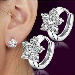 Star 925 Crystal Zirco Sterling Silver Plated Earring Round Huggie Hoop Fashion