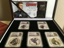 NIUE 2015 MARVEL AVENGERS 5PC 1 OZ SILVER PF70 AGE OF ULTRON
