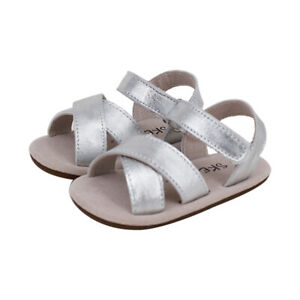 NEW SKEANIE Baby & Toddler Leather Cross Sandals Silver. RRP $59.95