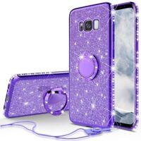 Samsung Galaxy S8 Plus Case, Ring Glitter Bling Diamond Rhinestone Bumper Purple
