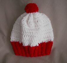 Handmade white & red waldo like knit hat/beanie - adult size