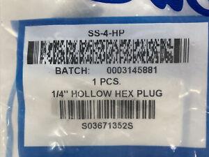 "New, Swagelok 1/4"" Hollow Hex Plug SS-4-HP, bag of 14pcs."