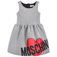 NWT NEW Moschino girls gray logo heart neoprene dress 4y 6y 10y