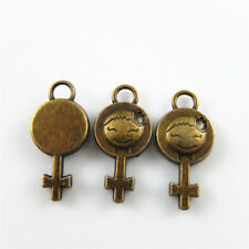 Vintage Bronze Alloy Smile Face Cross Jewelry Findings Charms Pendants 10pcs
