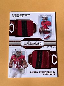 2020 KYLER MURRAY LARRY FITZGERALD DUAL PATCH /15 PANINI FLAWLESS #DD8 VERY NICE