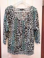 Women's Apt. 9 Size L Large 12 14 Blue Animal Print Sheer Nylon Top Blouse Shirt