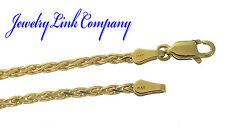 "14K Solid Yellow Gold Diamond Cut Wheat 2.1mm 9.2gr Spiga Chain 060 16"""