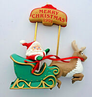 Hallmark 1991 Up 'N' Down Journey Santa Sleigh Reindeer Christmas Ornament
