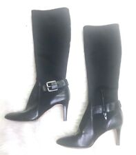 Antonio Melani Knee High Leather Boots Stretchy Pullover Buckle Skinny Leg Sz 6