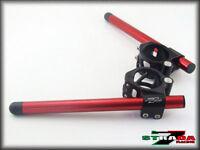 Strada 7 Racing CNC Clip On Handle Bars Triumph Street Triple 50mm Red