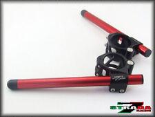 Strada 7 Racing CNC Clip On Handle Bars Honda CBR1000RR / RC51 50mm Red