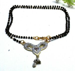 "14 K Gold White Topaz & Garnet Indian Jewelry Mangal sutra Necklace Size-17-18"""