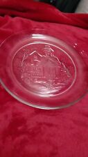 "Avon Exclusive Gingerbread House Dessert Plates 4 Glass 7 3/4"" Christmas Holiday"