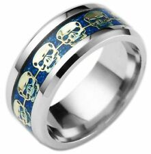 Size 6 GOLD SKULLS In Blue SAPPHIRE 8mm Band Titanium Steel Ring USA SELLER