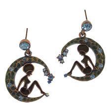 Jewelr Crystal Blue Enamel Green Repro Girl in Moon Earrings Drop Dangle Costume