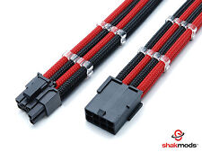 6 +2 pin pci-e gpu black red heatshrinkless à manches longues extension cable 30cm shakmods